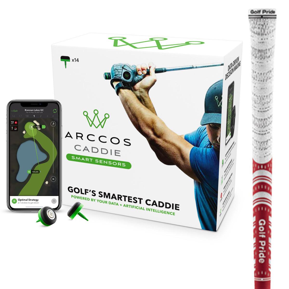 Arccos Caddie Smart Sensors & MCCホワイトアウト グリップ 10本セット