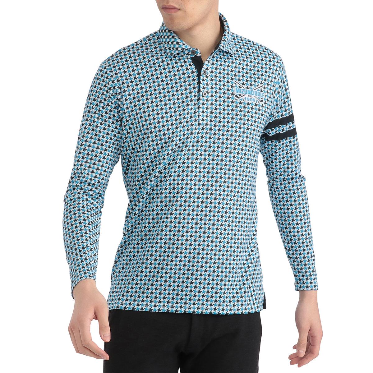 プリント シャツカラー 長袖ポロシャツ