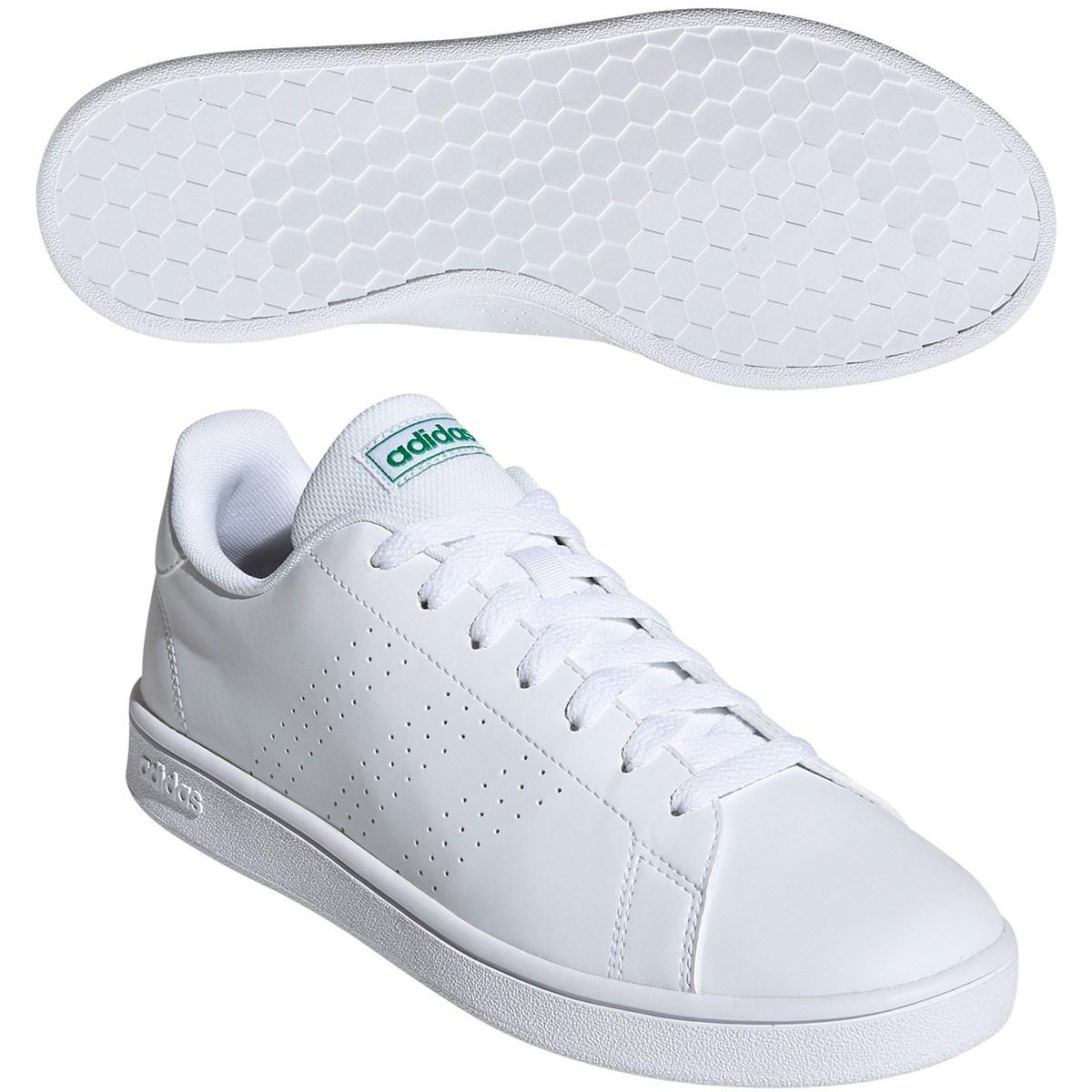 アディダス Adidas ADVANCOURT BASE シューズ 26cm ランニングホワイト/ランニングホワイト/グリーン
