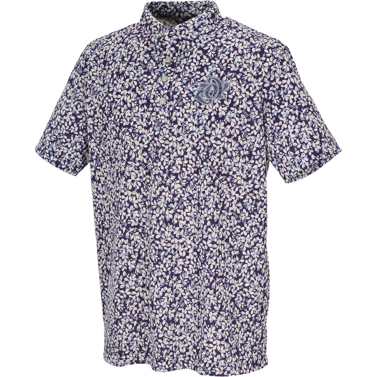 ストレッチ リーフプリント 半袖ポロシャツ