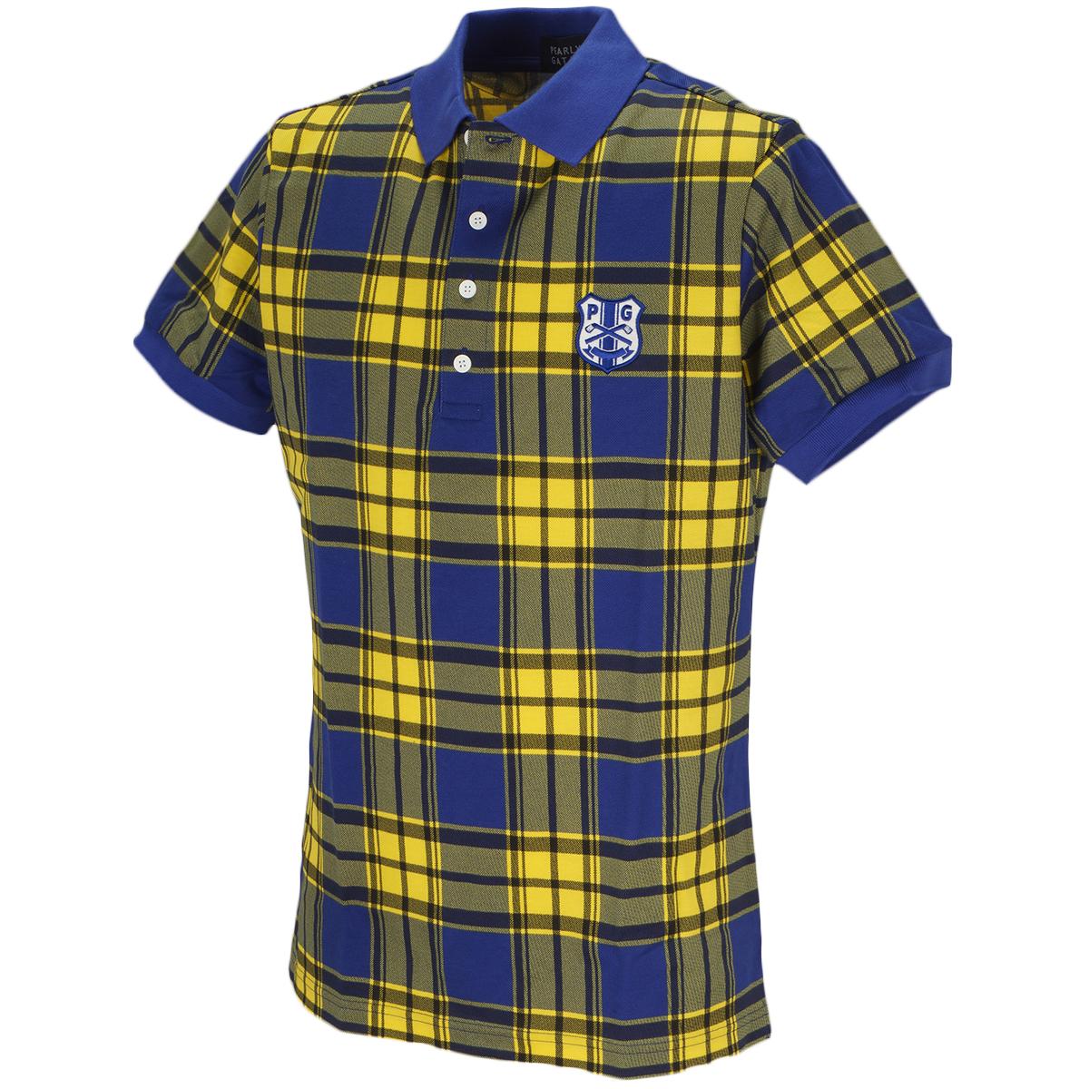スーピマ 鹿の子 チェック 半袖ポロシャツ