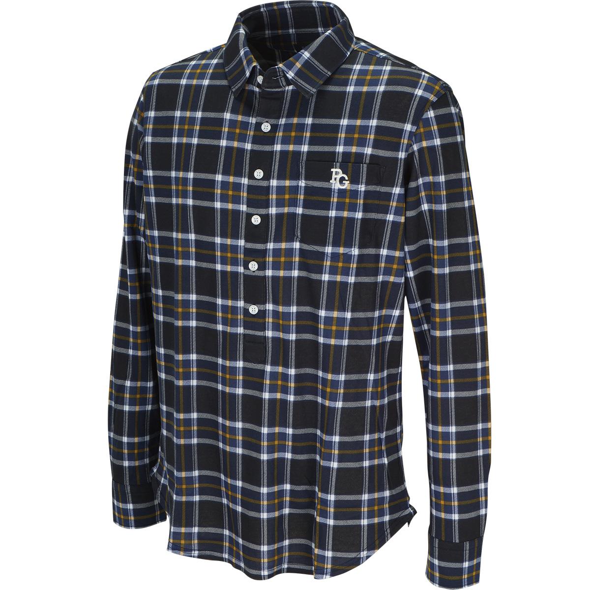 ハイゲージ度詰めポンチ チェック 長袖ポロシャツ