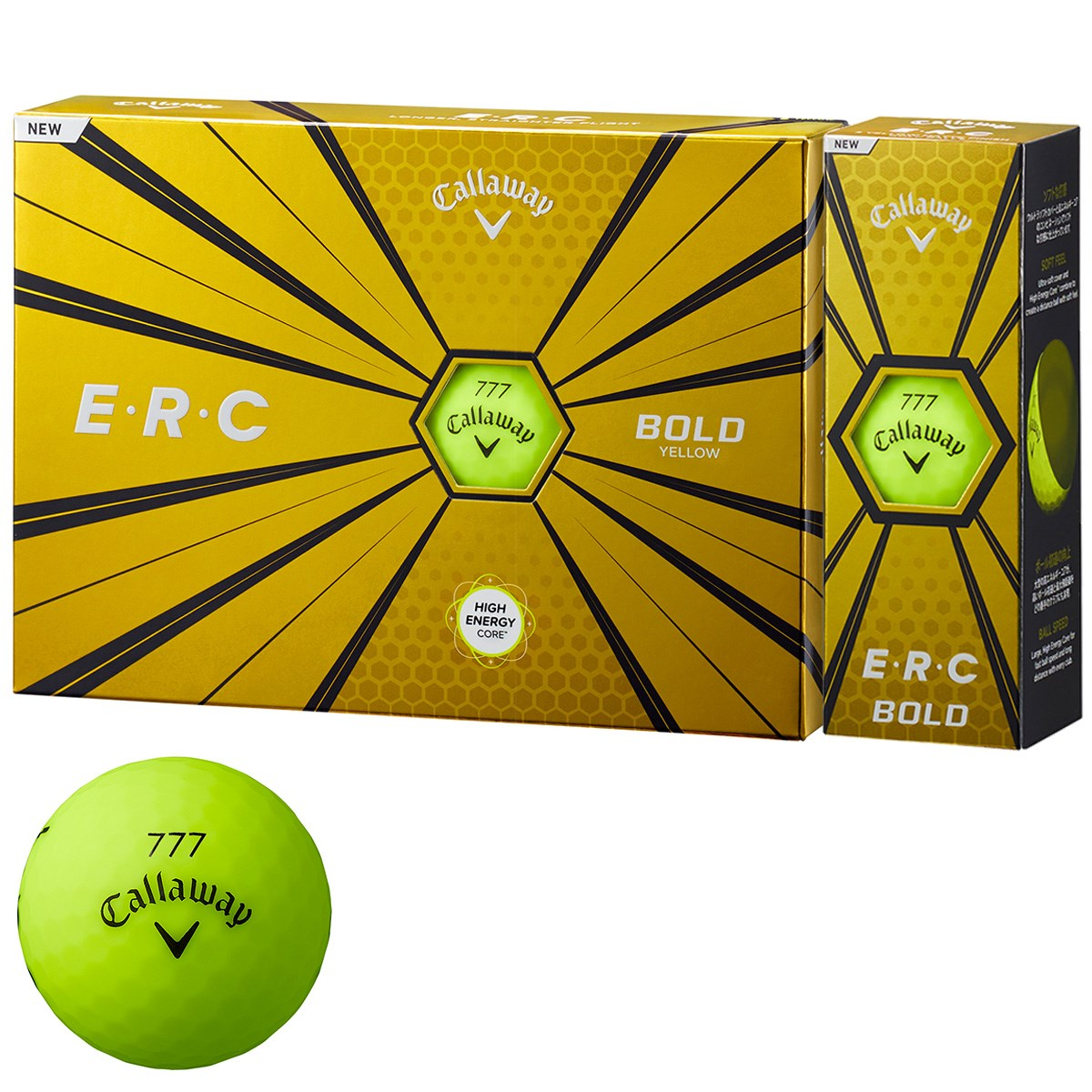 キャロウェイゴルフ E・R・C ERC 19 ボール 1ダース(12個入り) ボールドイエロー