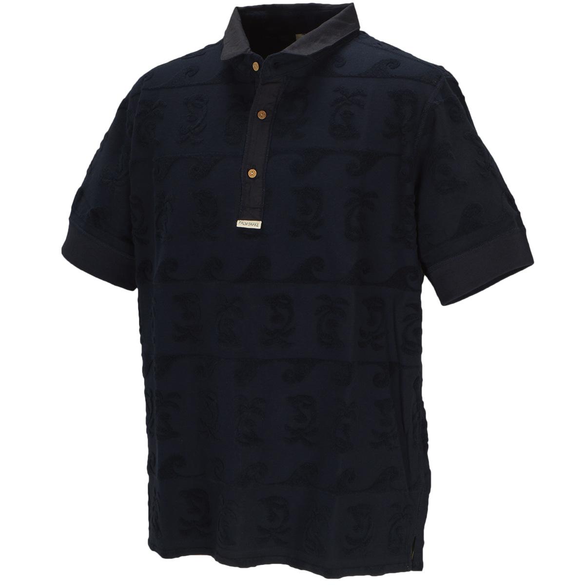 パイルジャガード ヘンリー半袖ポロシャツ