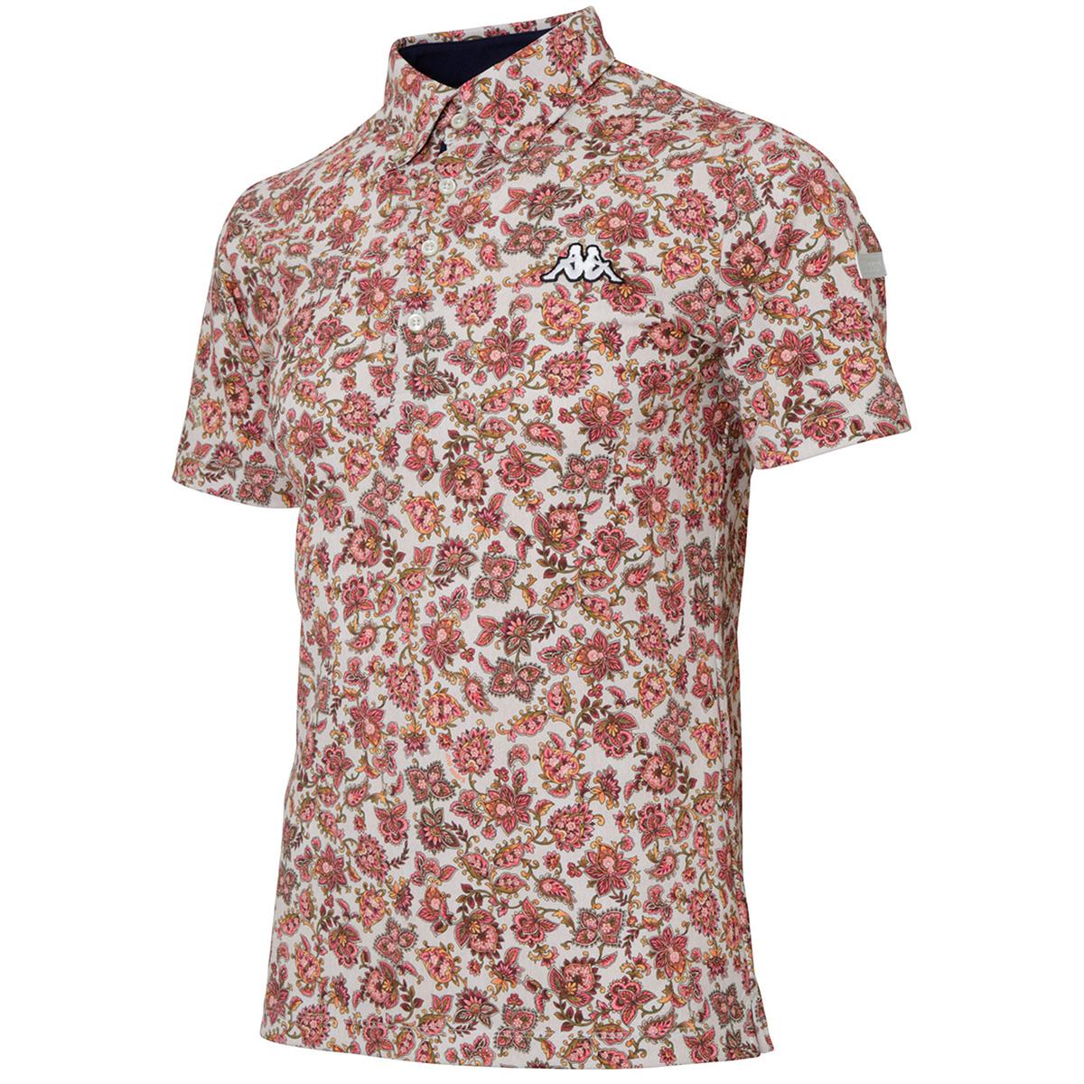 Collezione Italia フローラル総柄プリント ストレッチ半袖ポロシャツ