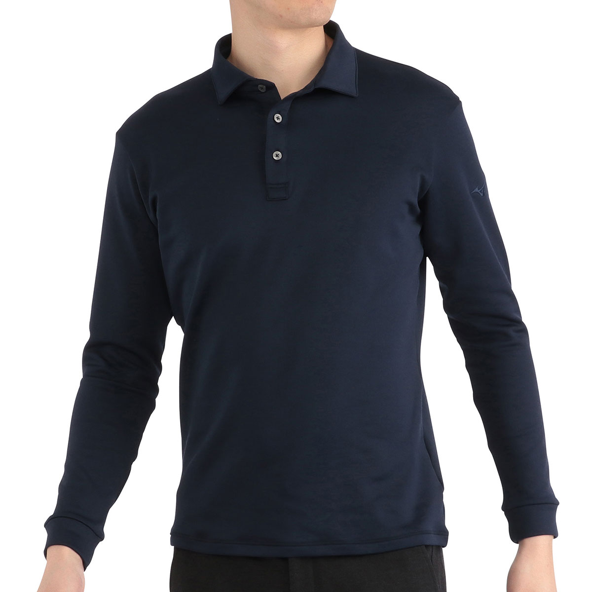 ブレスサーモ ストレッチ シャツカラー長袖ポロシャツ