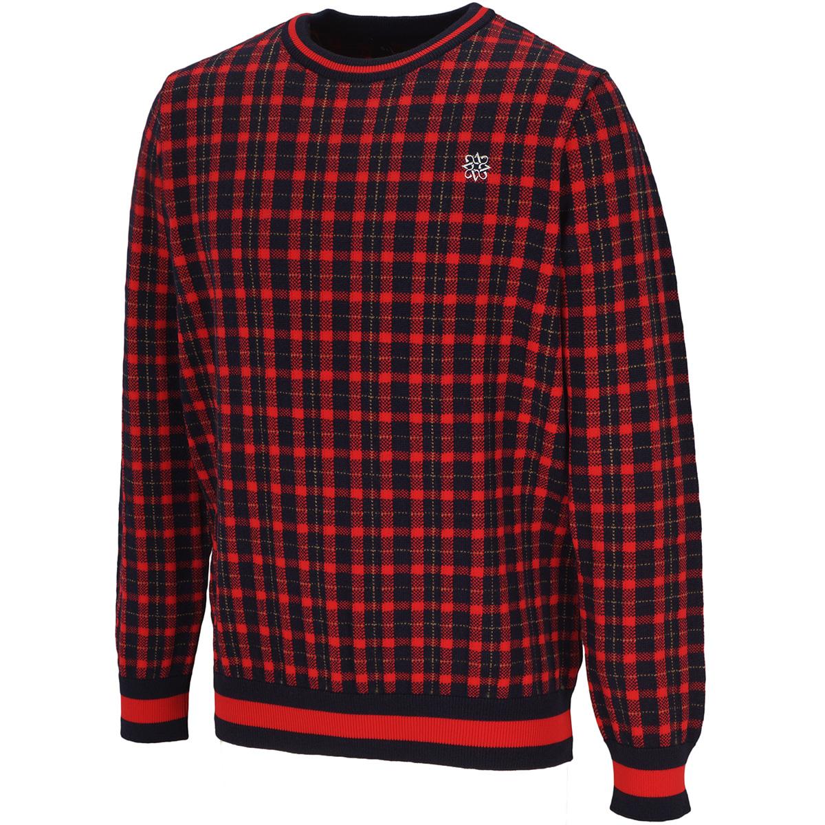 チェック インターシャセーター