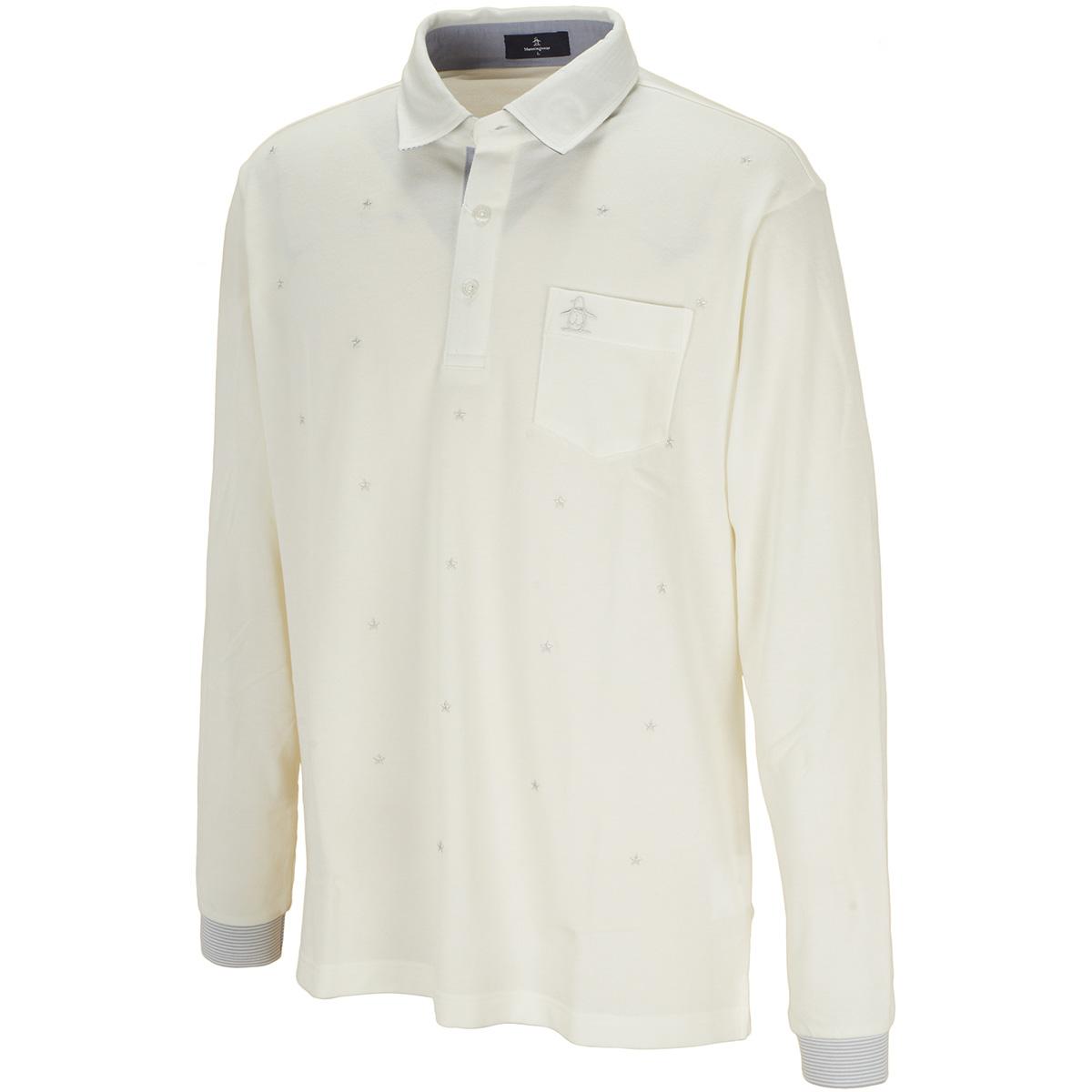 ストレッチ スター刺繍長袖ポロシャツ