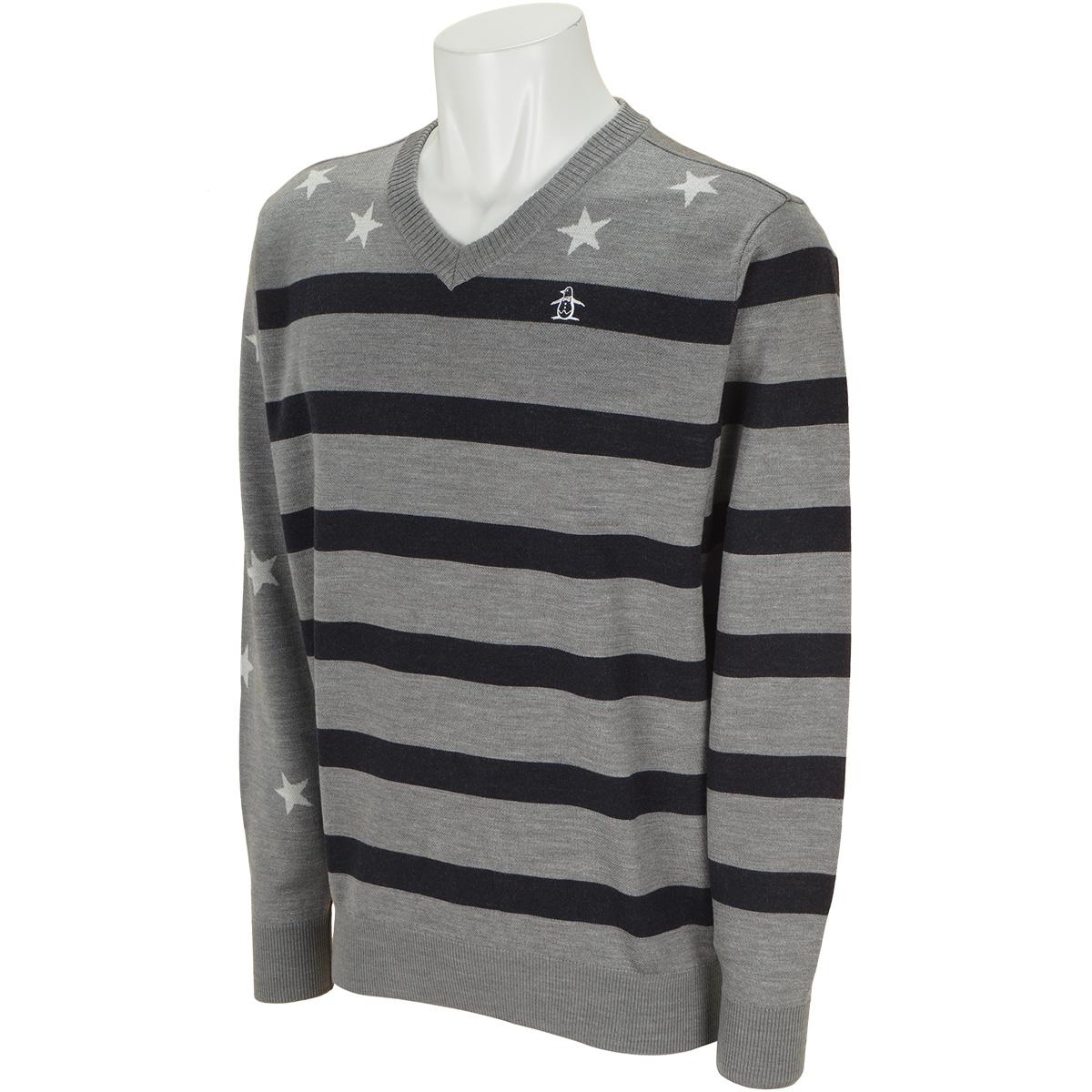 スターストライプジャカード Vネックセーター