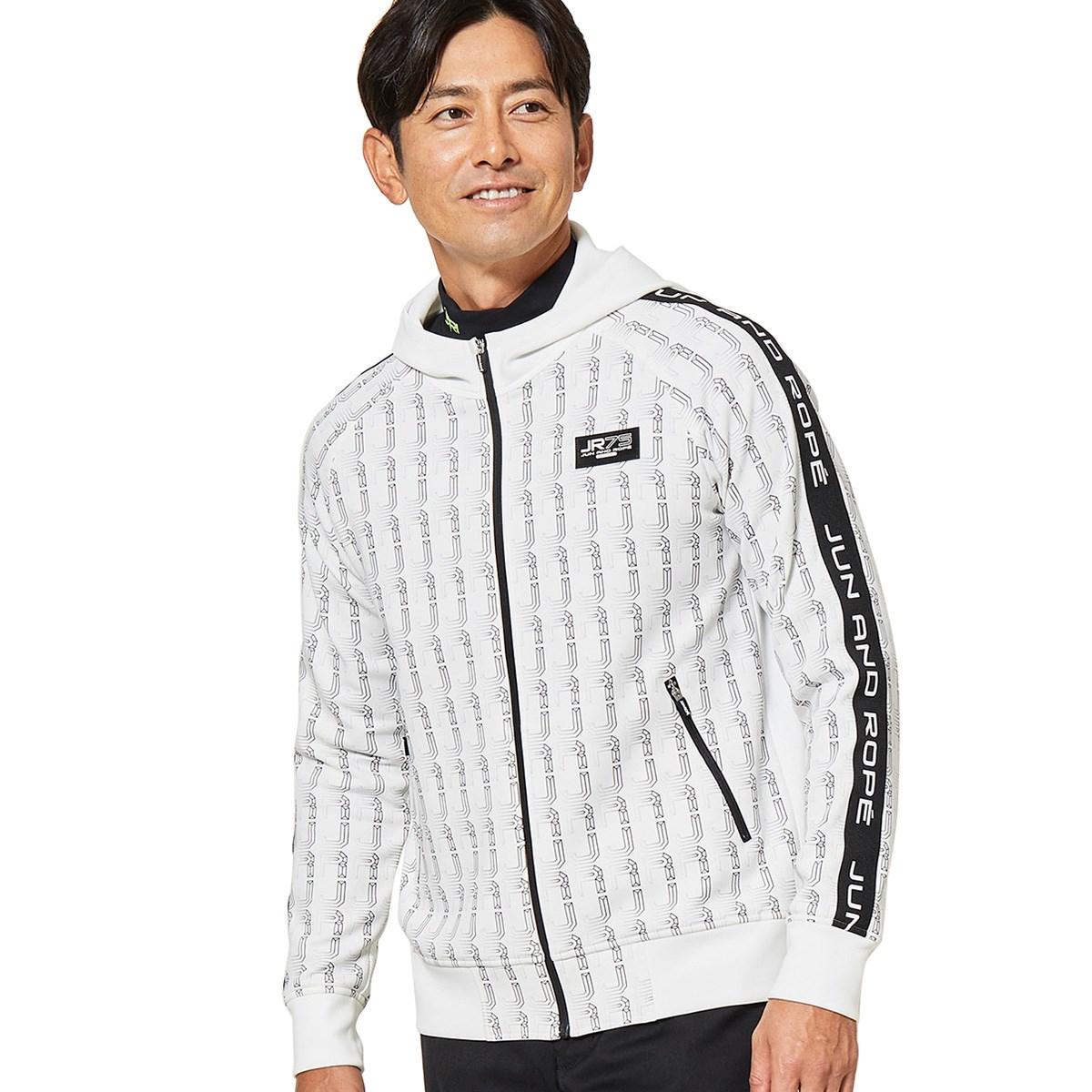 ジュン アンド ロペ JUN & ROPE ロゴ総柄プリントフード付きトラックジャケット M ホワイト 10