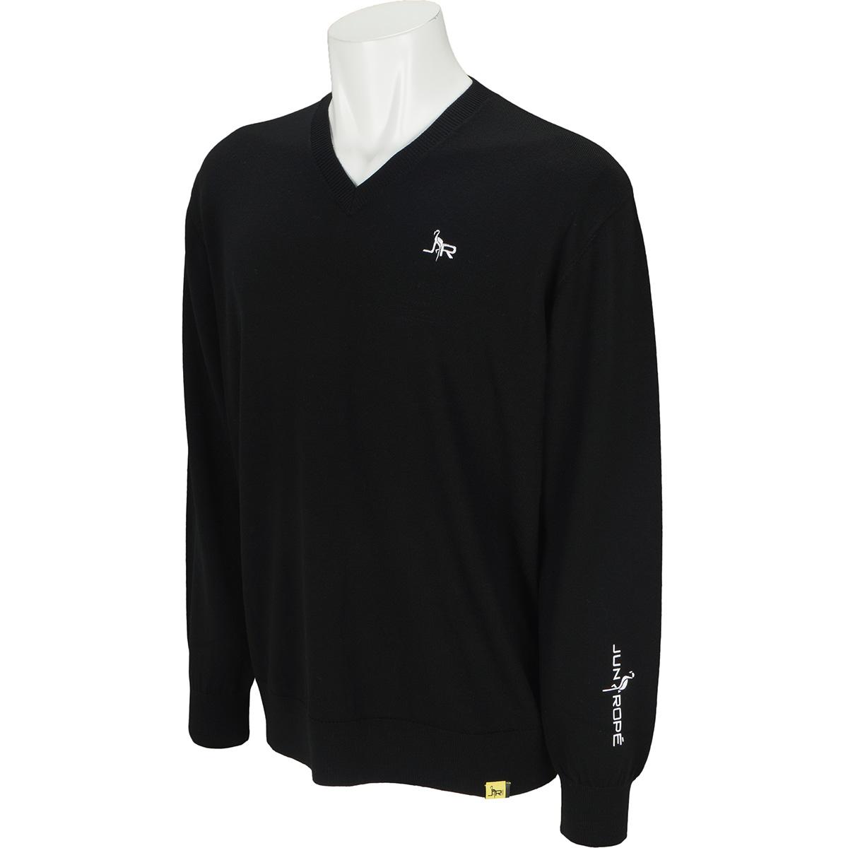 袖プリントVネックセーター