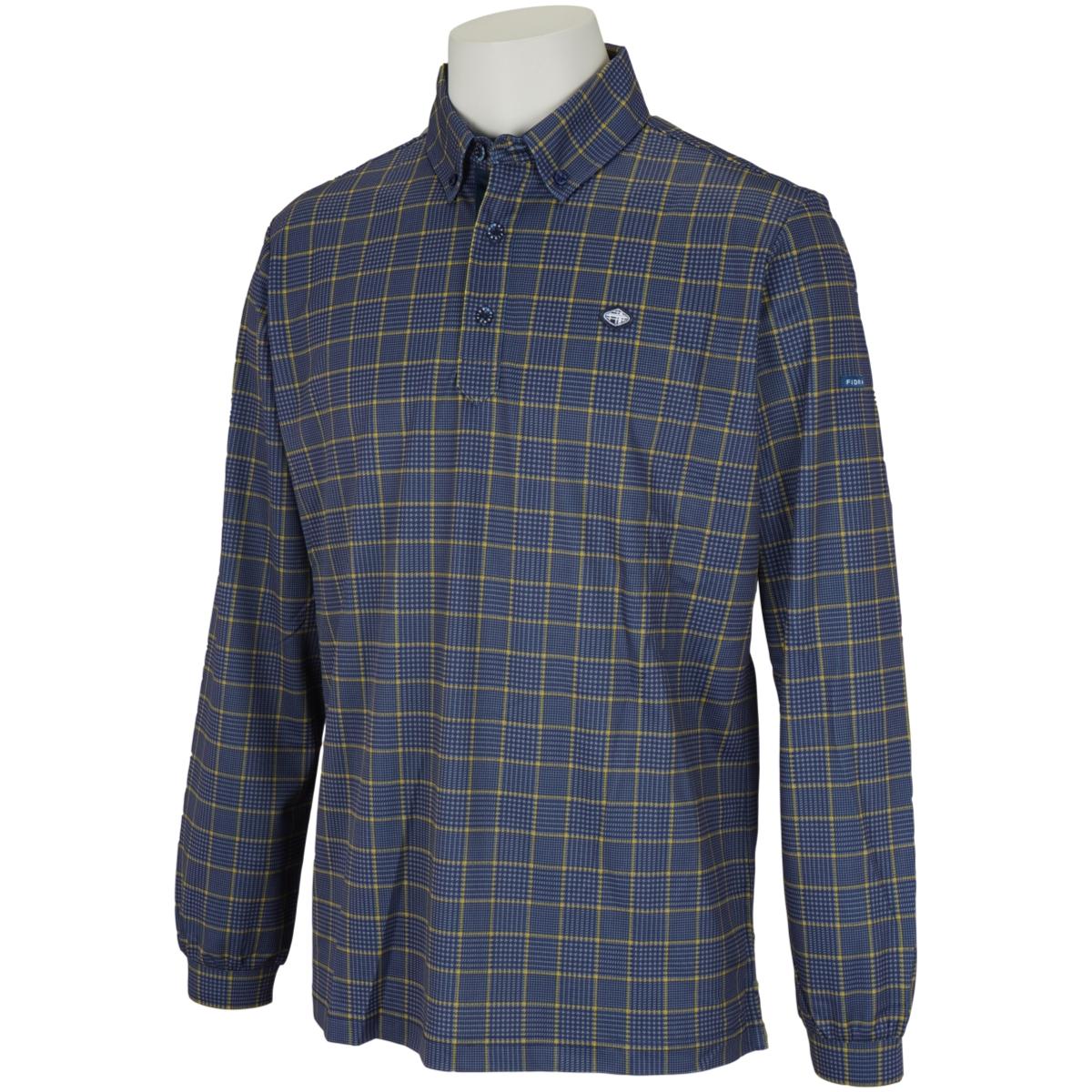 チェックプリント 長袖ポロシャツ