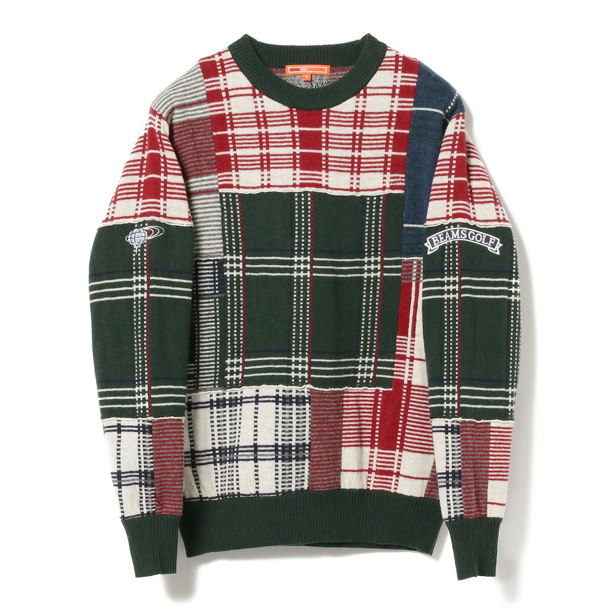 BEAMS GOLF ORANGE LABEL パッチワーク セーター