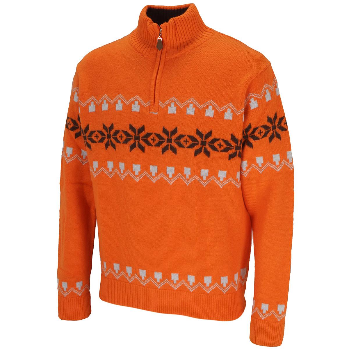 ストレッチ ジップアップ ノルディックセーター