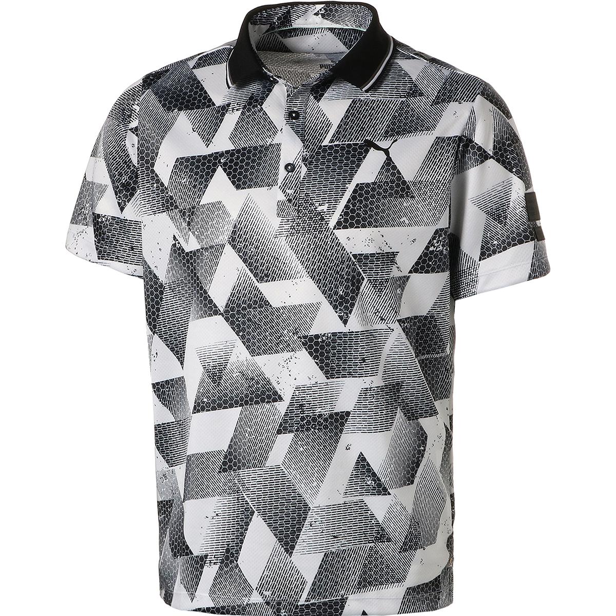グラフィック プリント 半袖ポロシャツ