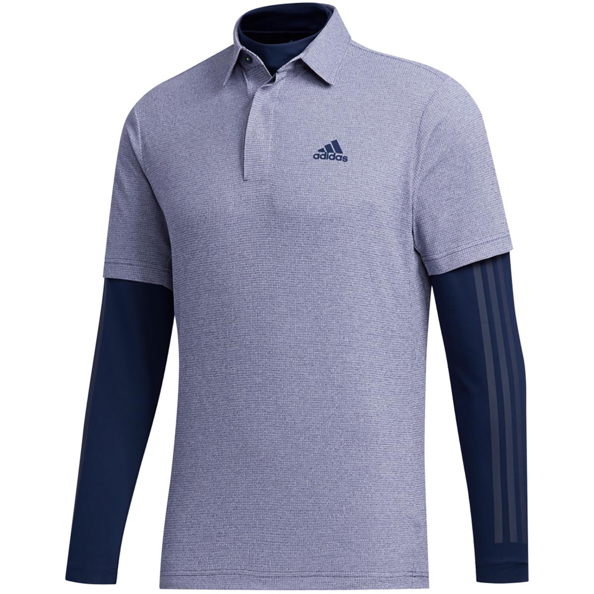ワッフルメランジ レイヤード 半袖ポロシャツ