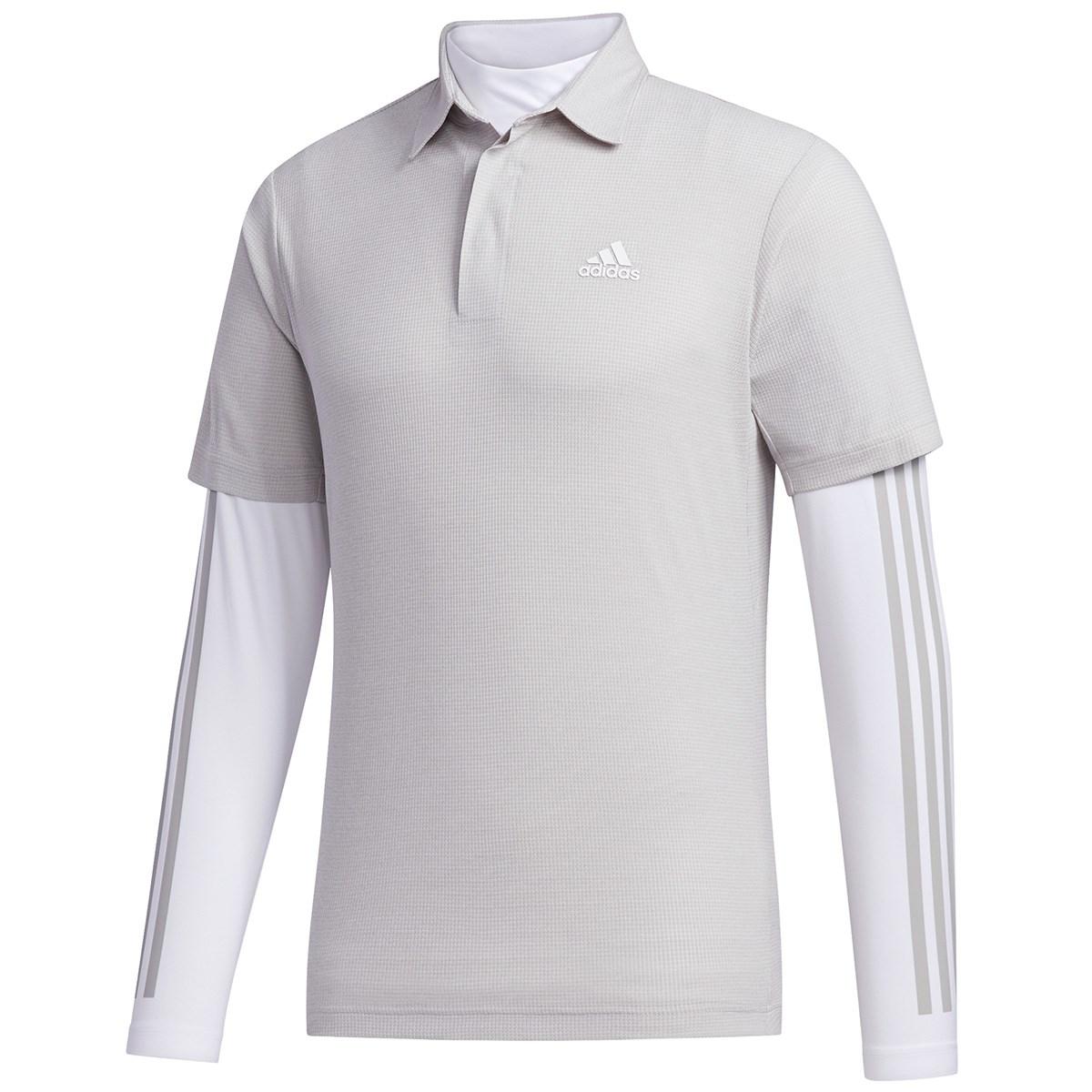 アディダス Adidas ワッフルメランジ レイヤード 半袖ポロシャツ S グレートゥー
