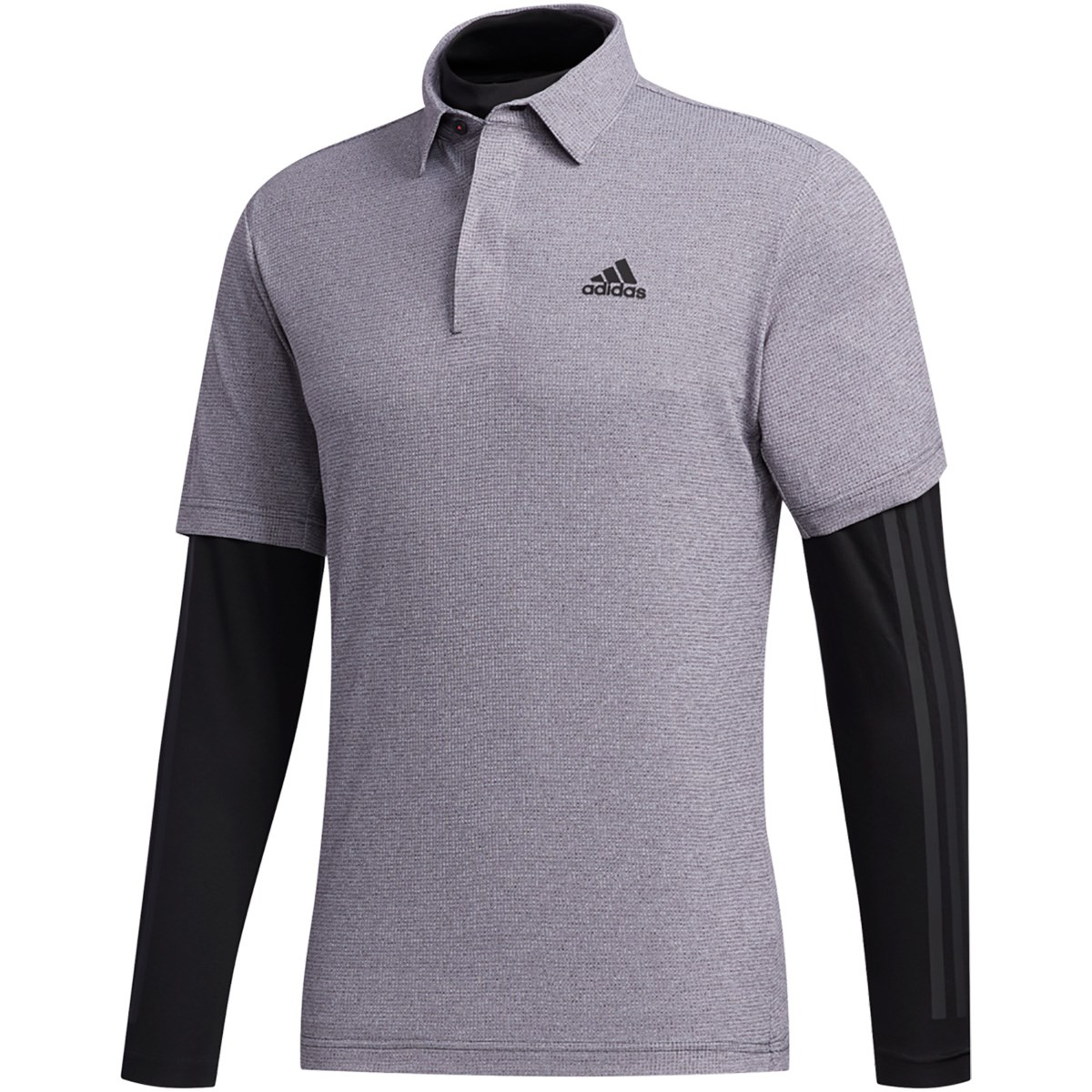 アディダス Adidas ワッフルメランジ レイヤード 半袖ポロシャツ S ブラック