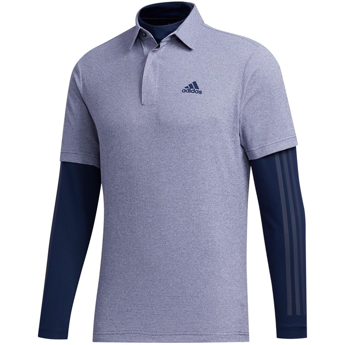 アディダス Adidas ワッフルメランジ レイヤード 半袖ポロシャツ S カレッジネイビー