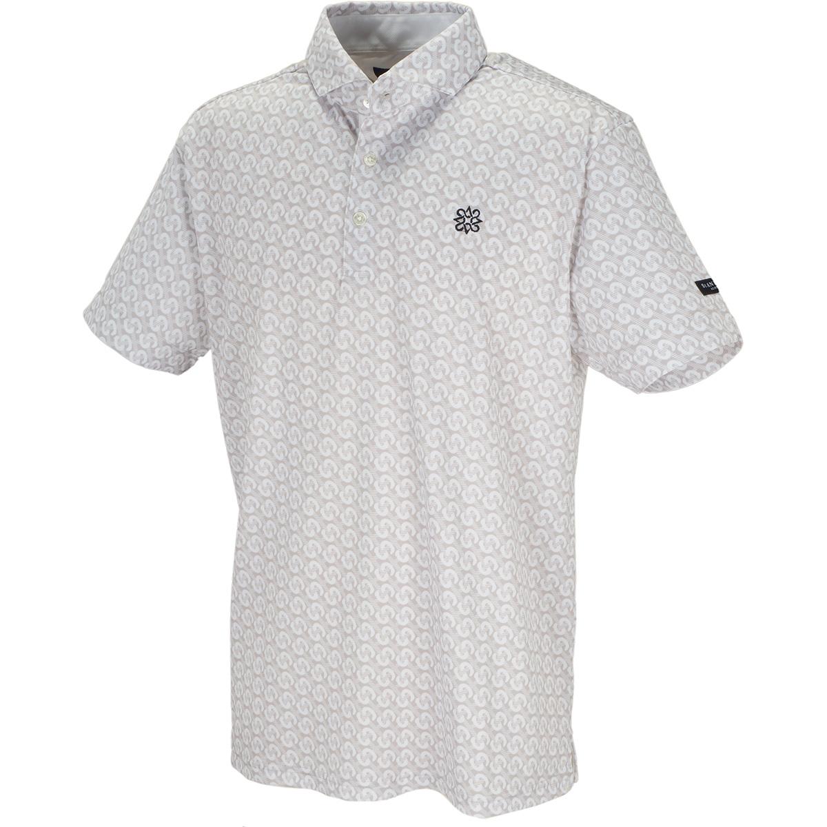 ピケシングルジャージー モノグラムチェックプリント 半袖ポロシャツ