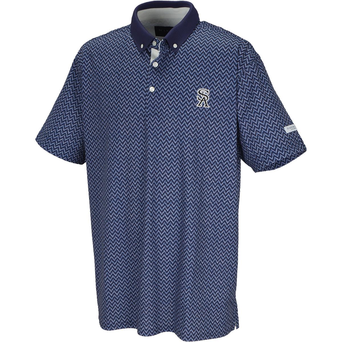 セオアルファ ギザギザプリント 半袖ポロシャツ