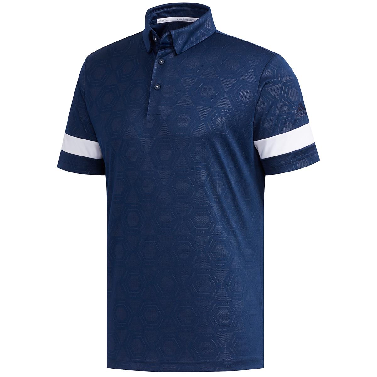 ヘキサゴンエンボスプリント 半袖ポロシャツ