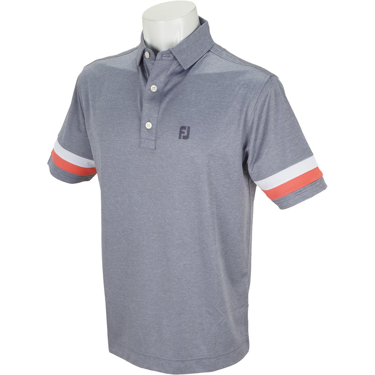 スリーブストライプ ヘザー 鹿の子半袖ポロシャツ