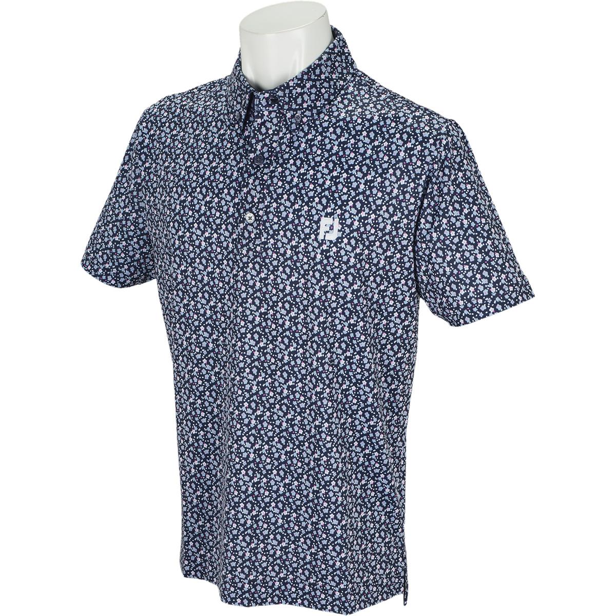 フローラルプリント ライル半袖ポロシャツ