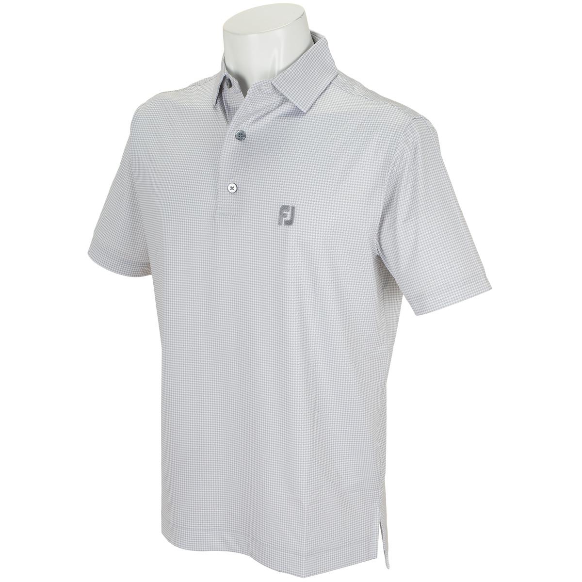 ヘザー千鳥プリント ライル半袖ポロシャツ
