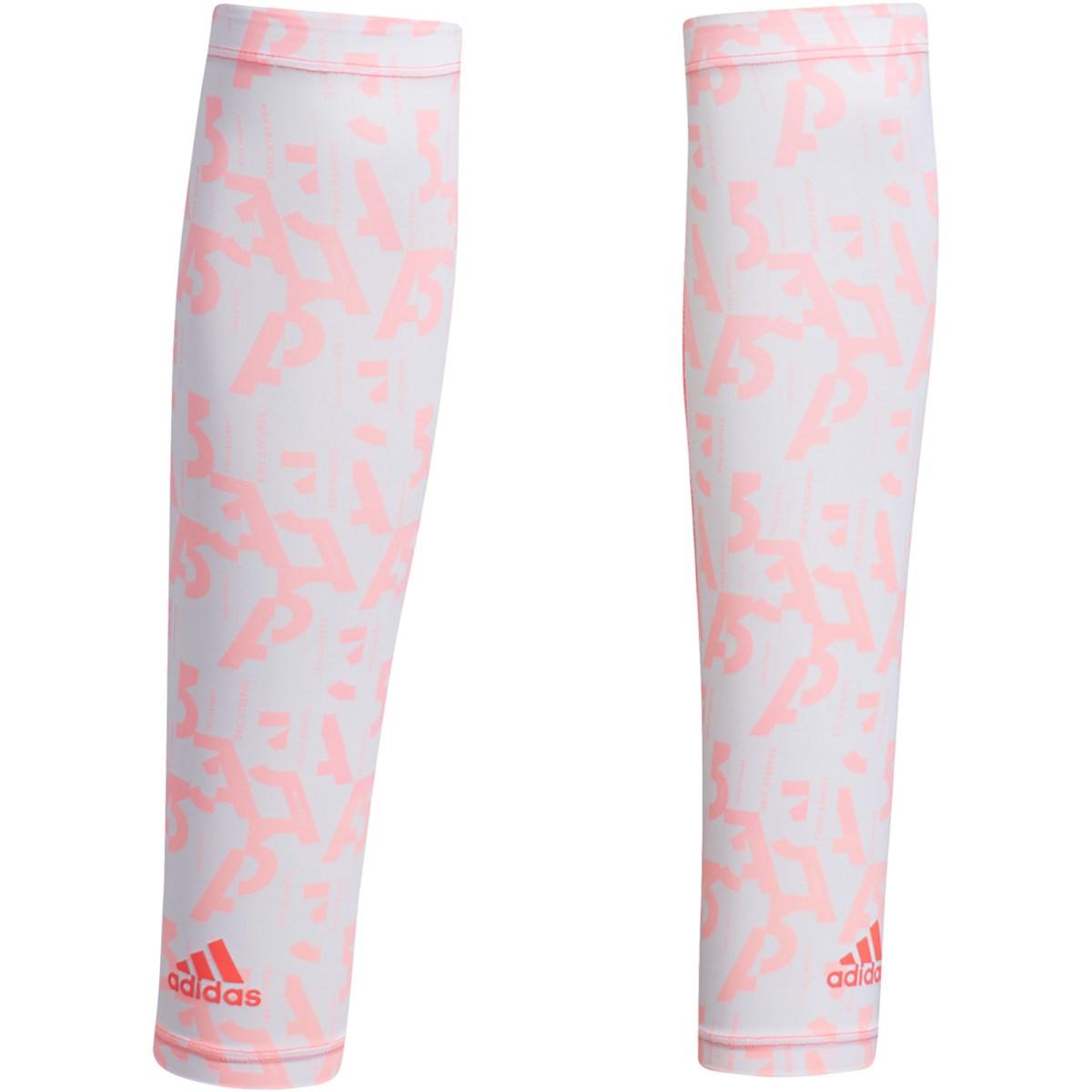 アディダス Adidas グラフィックUVアームカバー ホワイト/ライトフラッシュレッド M レディス