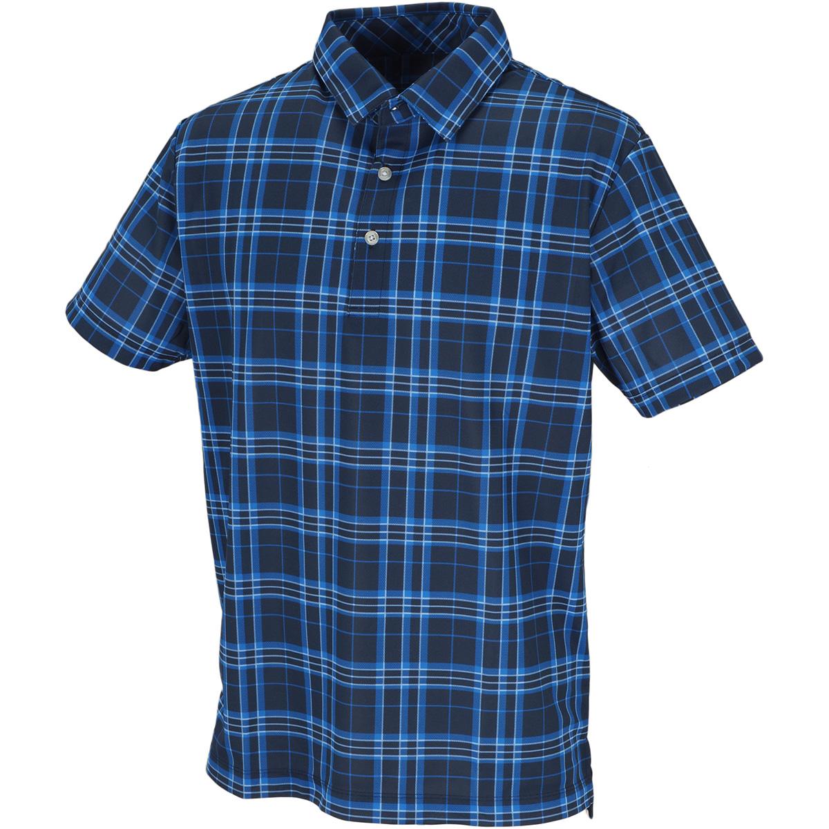 ストレッチ クーリング鹿の子チェック半袖ポロシャツ