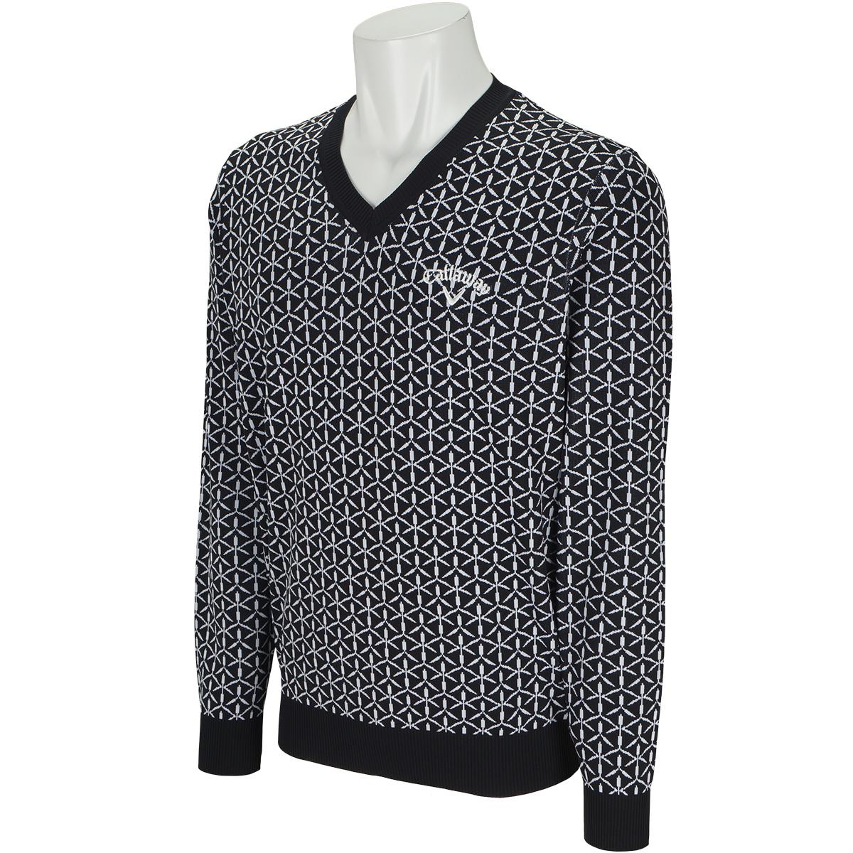 Vネック 撥水切子ジャカードセーター