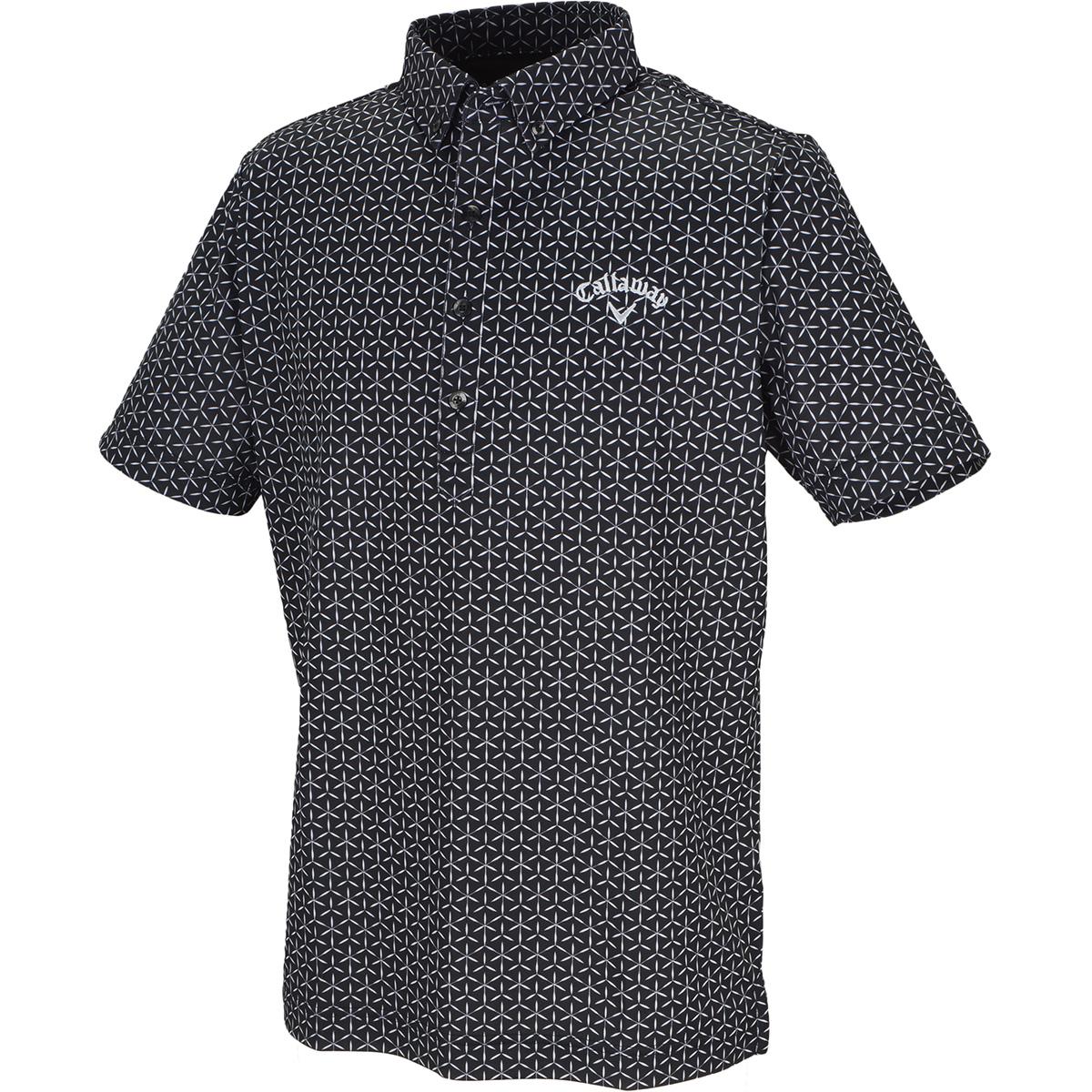 切子プリント クールドライ ボタンダウン半袖ポロシャツ