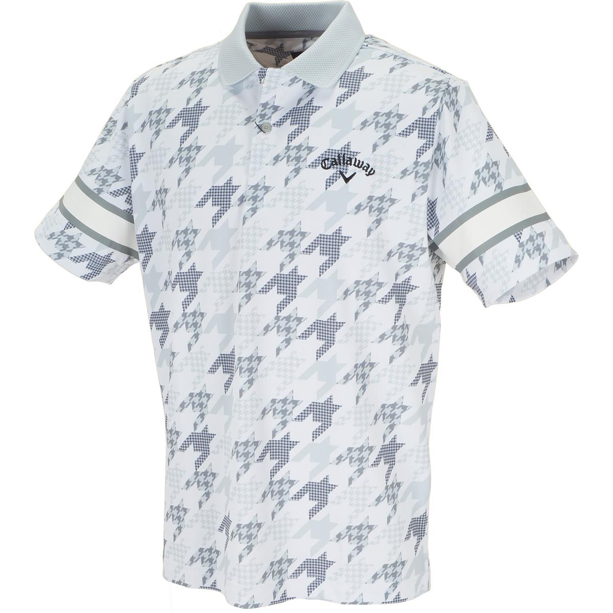 千鳥プリント クールドライ 半袖ポロシャツ