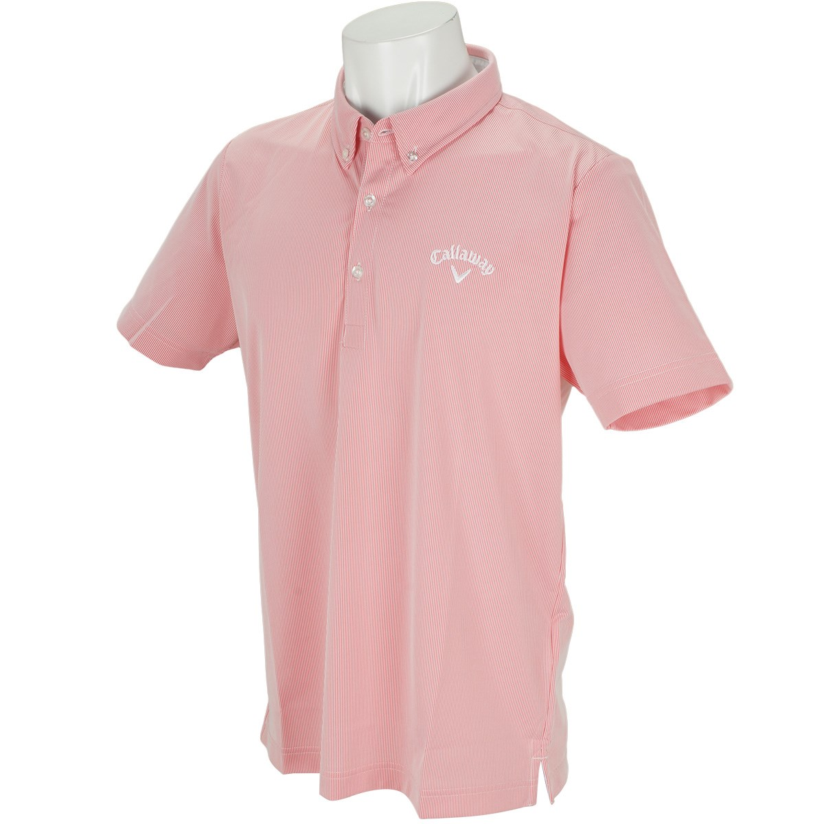 キャロウェイゴルフ Callaway Golf ボタンダウン コードレーン カラー半袖ポロシャツ M レッド 100