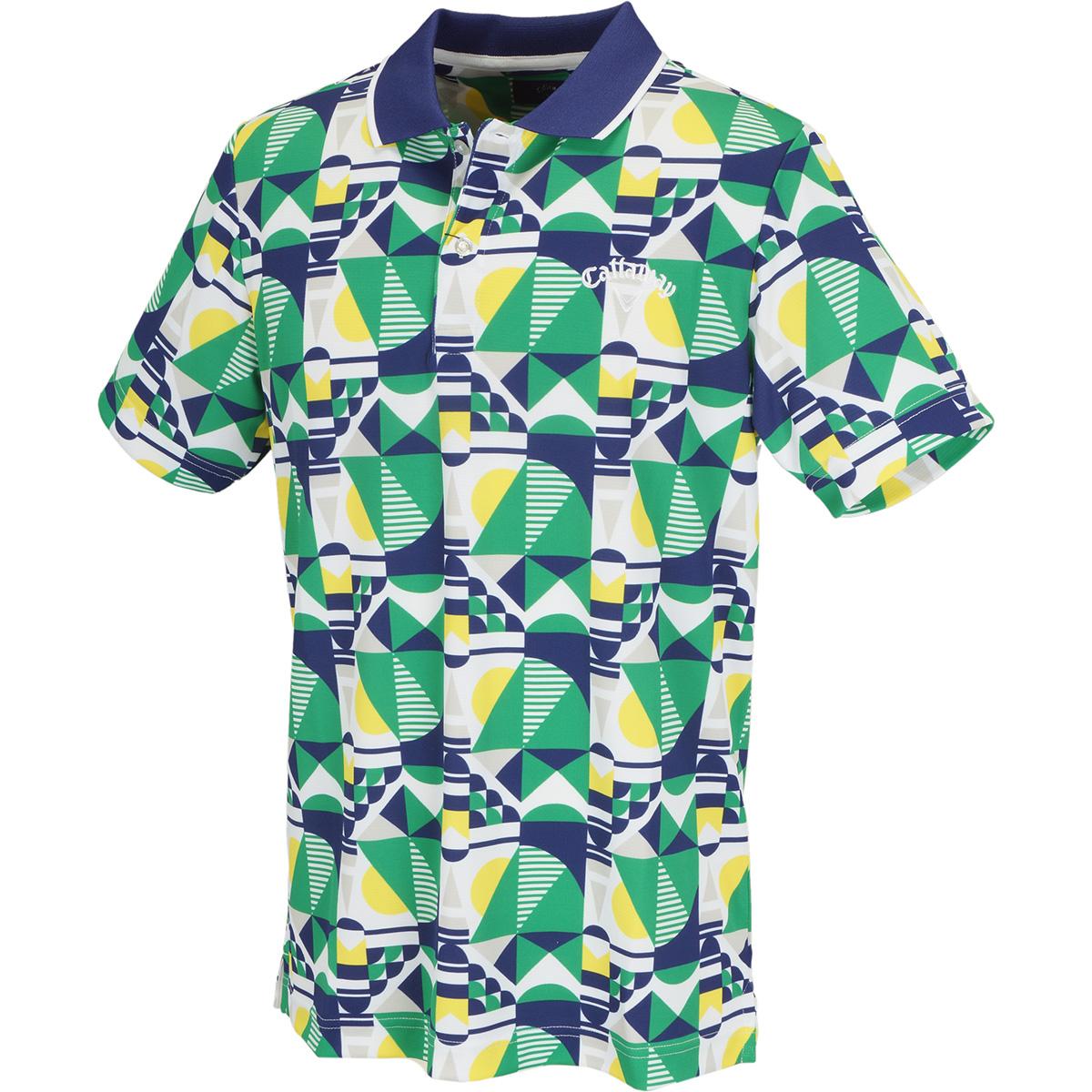 幾何学柄プリント -2℃+200cc 半袖ポロシャツ