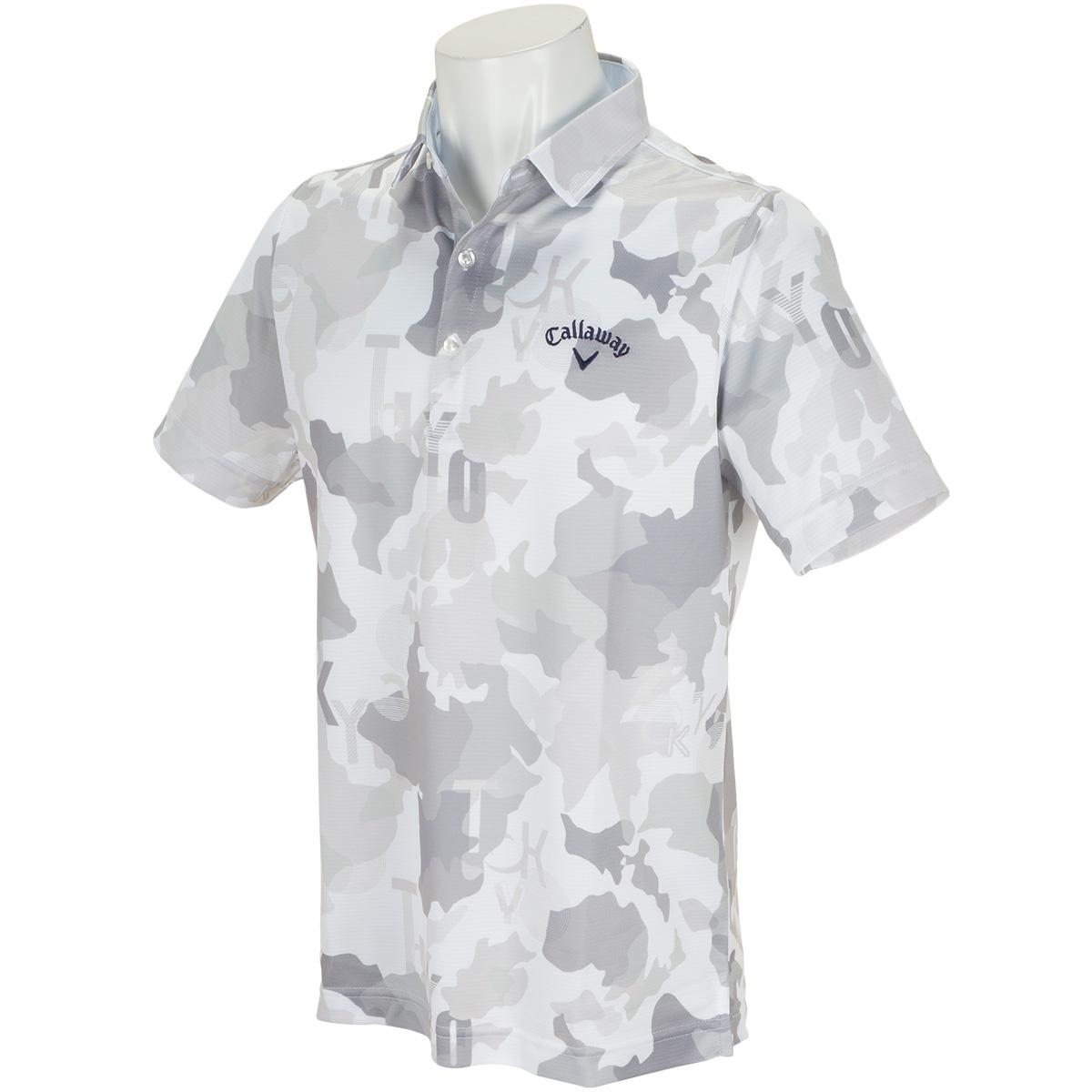 変形鹿の子マッププリント カラー半袖ポロシャツ