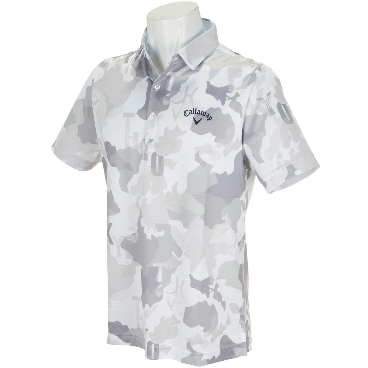 キャロウェイゴルフ Callaway Golf 変形鹿の子マッププリント カラー半袖ポロシャツ M グレー 020