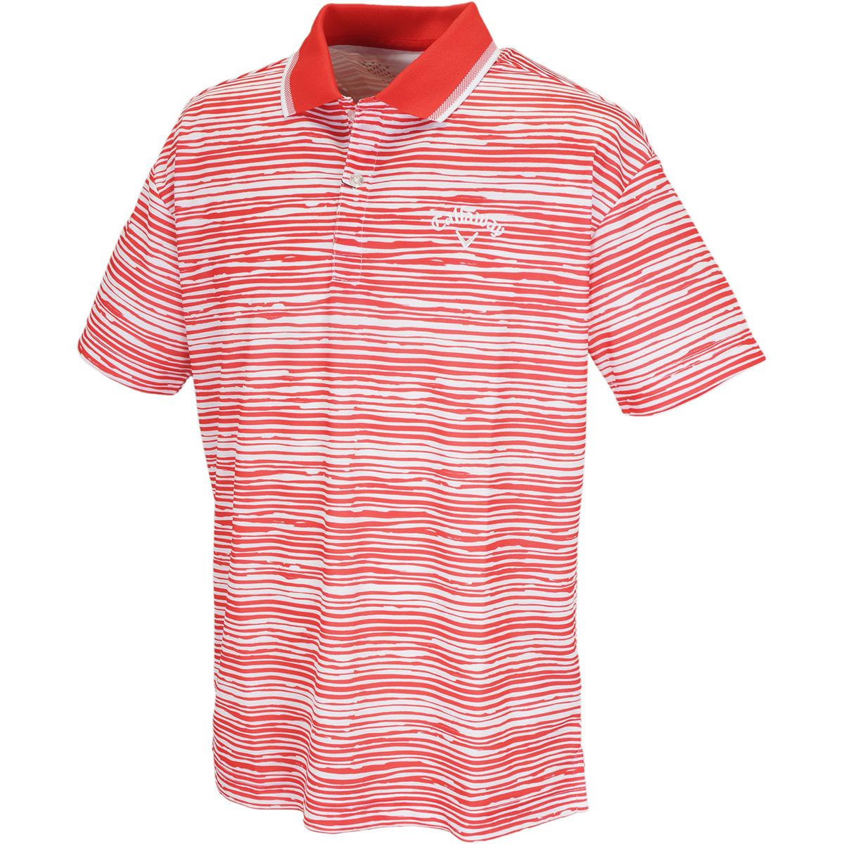 ボーダープリント変形鹿の子 半袖ポロシャツ