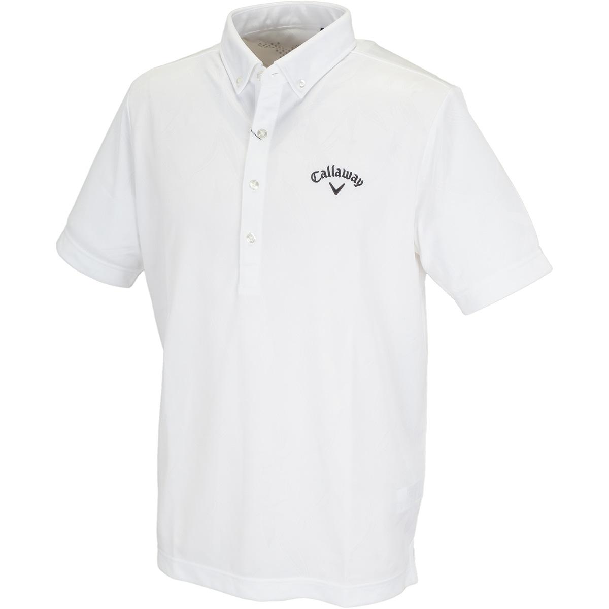 ボタンダウン クマザサ柄ジャカード カラー半袖ポロシャツ