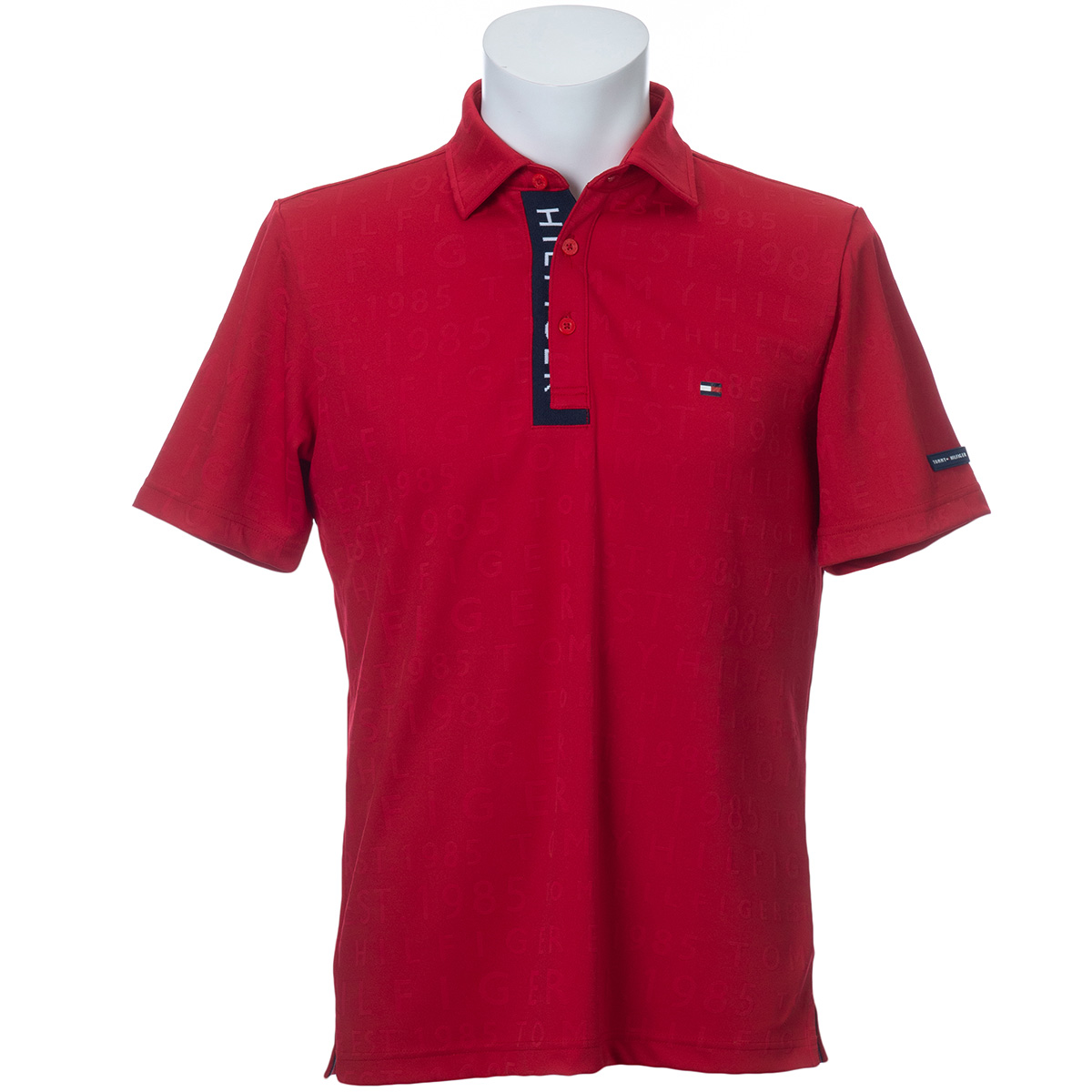 ロゴ ジャカード 共衿半袖ポロシャツ