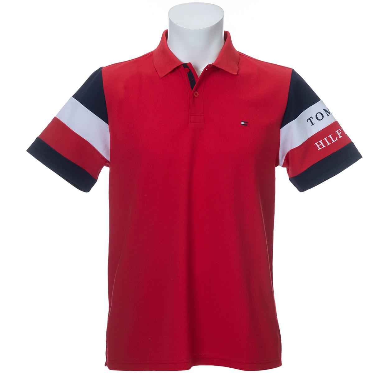 SIGNATURE ストライプスリーブ 半袖ポロシャツ