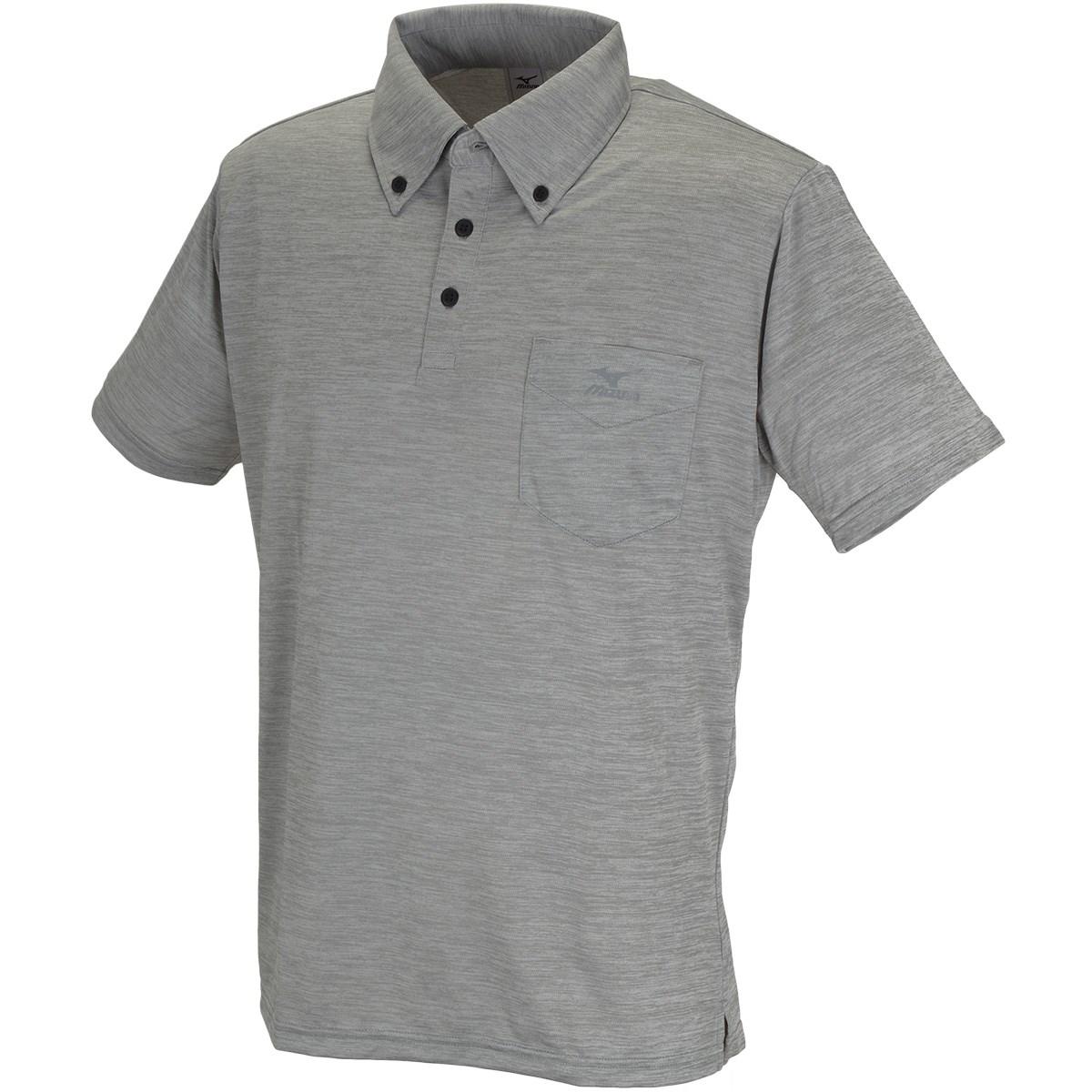 ミズノ(MIZUNO) 杢柄ボタンダウン半袖ポロシャツ