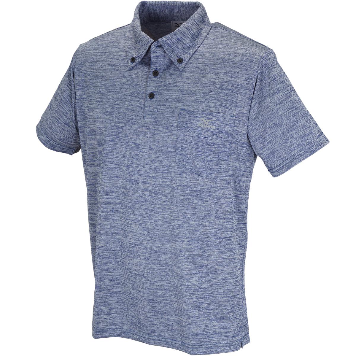 杢柄ボタンダウン半袖ポロシャツ