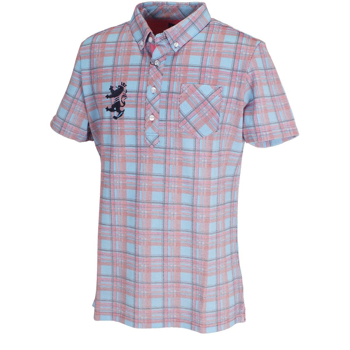 マドラスチェック ボタンダウン半袖ポロシャツ