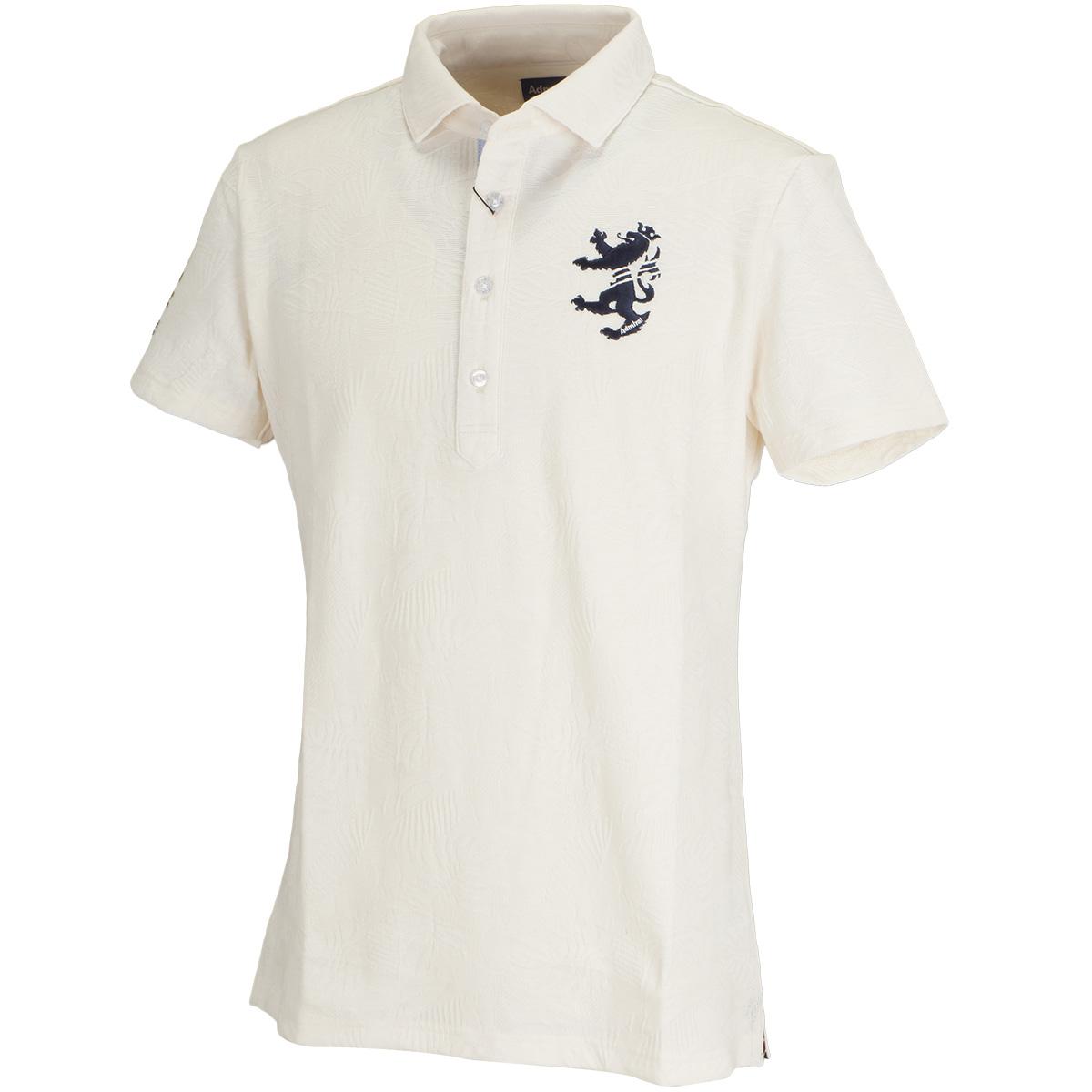 ボタニカルジャガード ワイドカラー半袖ポロシャツ