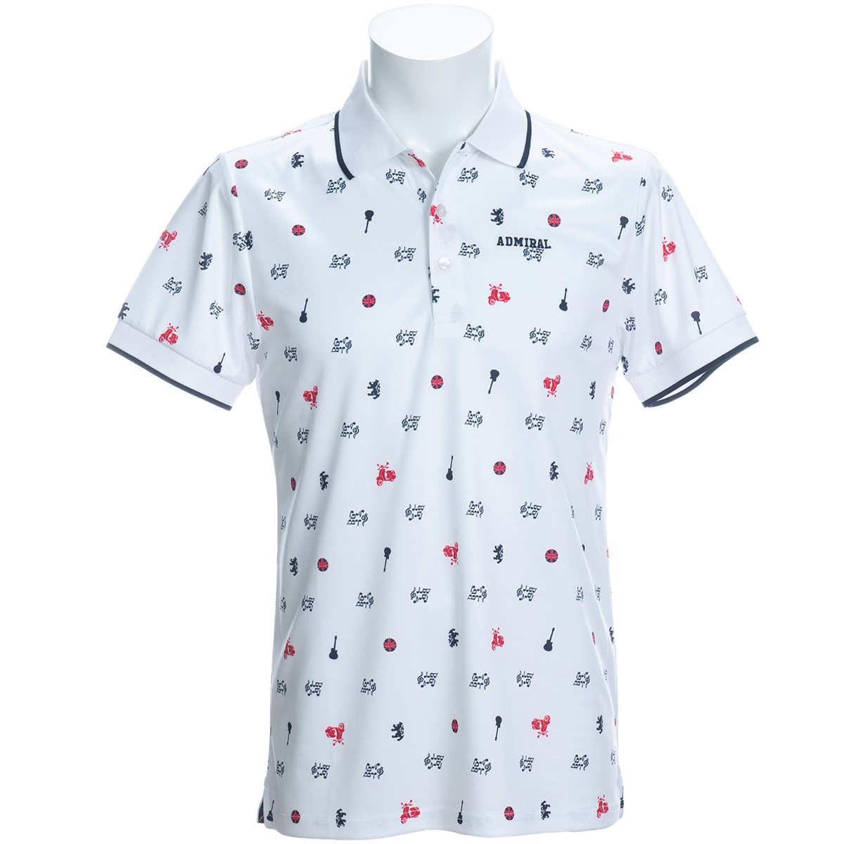 アドミラル Admiral アイコン総柄 半袖ポロシャツ L ホワイト 00