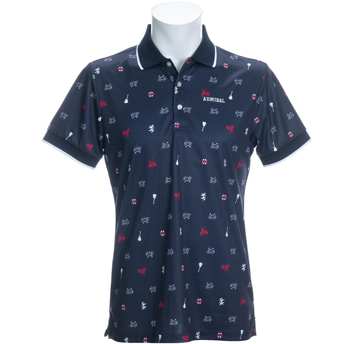 アイコン総柄 半袖ポロシャツ