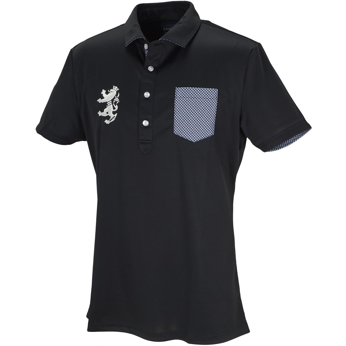 パーツチェック ワイドカラー半袖ポロシャツ