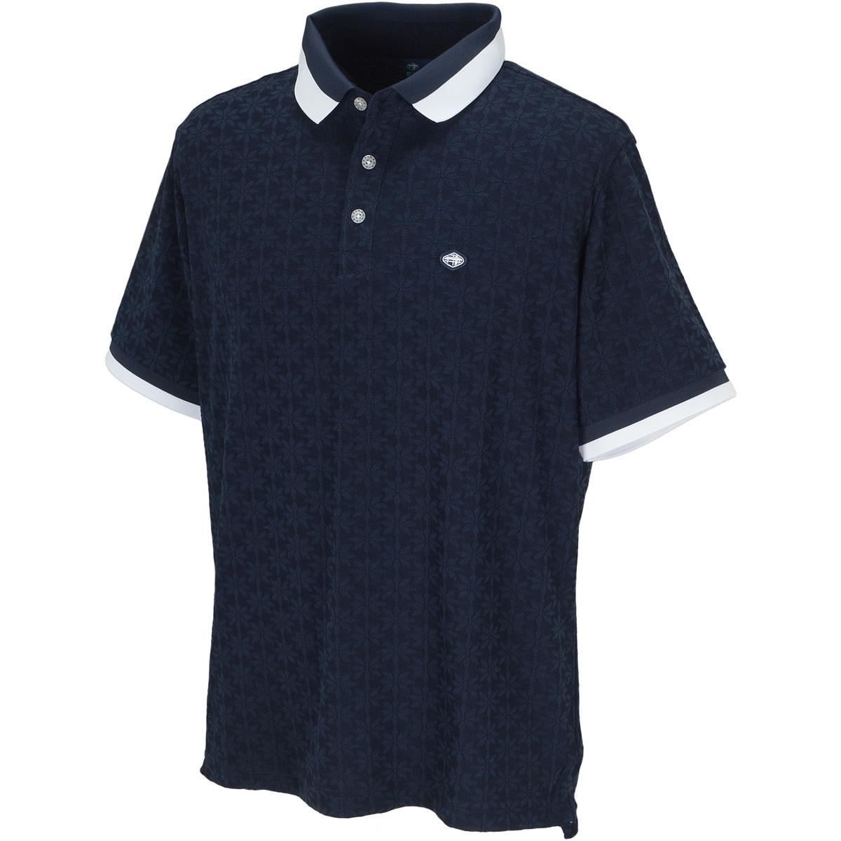 和柄ジャカード 半袖ポロシャツ